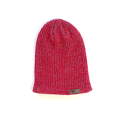 red heather beanie hat with leather tag - wild hat company