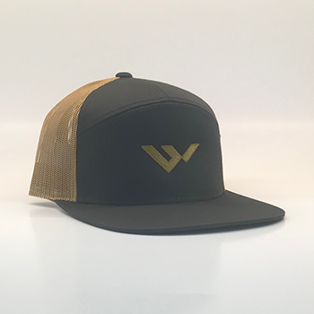 wild hat company | 7 panel grey and gold mesh hat
