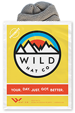 wild hat company poly bag for shipping beanie hats and caps.